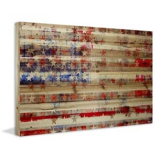 "Parvez Taj - ""Stars & Stripes"" Print on Natural Pine Wood"