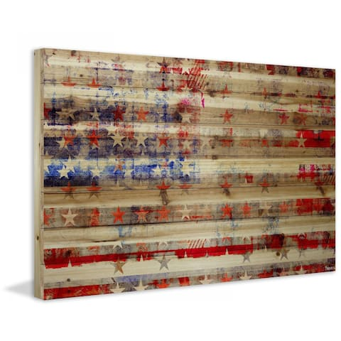 Handmade Parvez Taj - Stars and Stripes Print on Natural Pine Wood