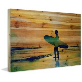 "Parvez Taj - ""Surf at Dusk"" Print on Natural Pine Wood"