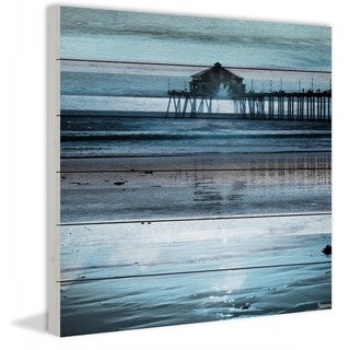 "Parvez Taj - ""Reflection of the Pier"" Print on White Wood"