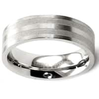 James Cavolini Stainless Steel Double Stripe Men's Band Ring - White