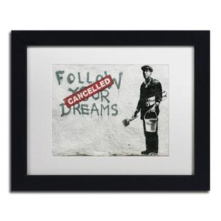 Banksy 'Cancelled Dreams' White Matte, Black Framed Wall Art