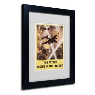 Attack Begins in Factory Propaganda' White Matte, Black Framed Wall Art