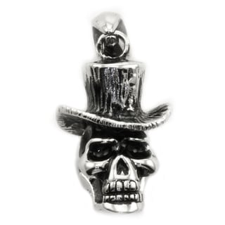 James Cavolini Stainless Steel Skull Head Pendant Necklace
