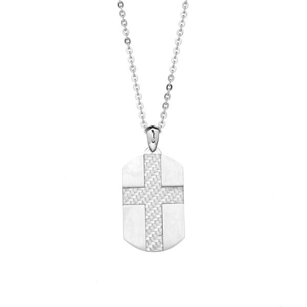 James Cavolini Stainless Steel Carbon Fiber Cross Dog Tag Pendant Necklace
