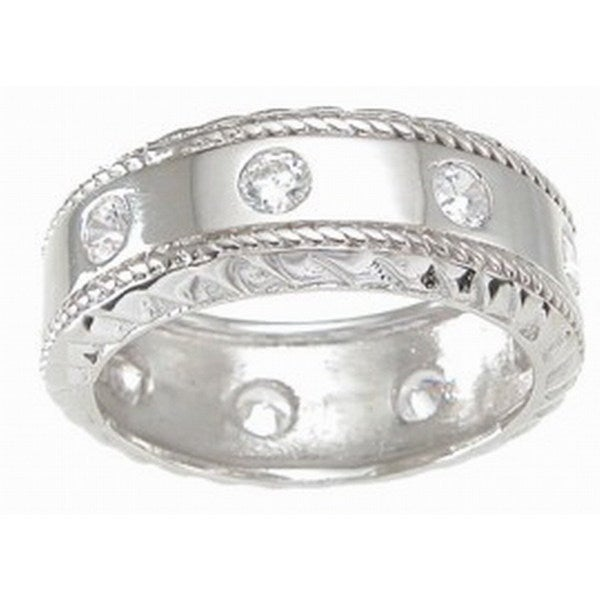 Plutus Sterling Silver Men X27 S Cubic Zirconia Rope Detail Wedding Band