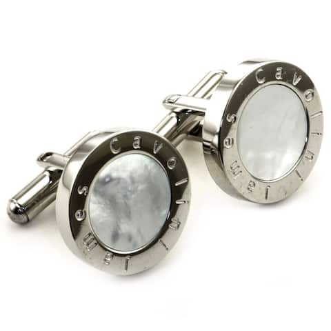 James Cavolini Stainless Steel and Mother of Pearl Circle Cuff Links - Silver