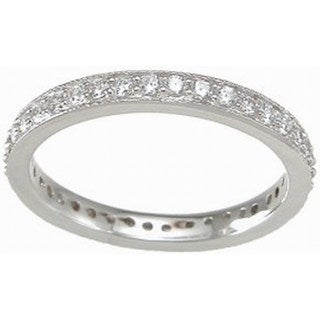 Sterling Silver Cubic Zirconia 2mm Wedding Band