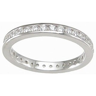 Sterling Silver Cubic Zirconia 3mm Channel-set Eternity Ring