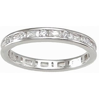 Sterling Silver Cubic Zirconia 3mm Eternity Ring