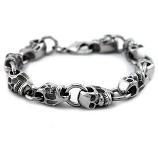 James Cavolini Stainless Steel Skull Head Chain Bracelet
