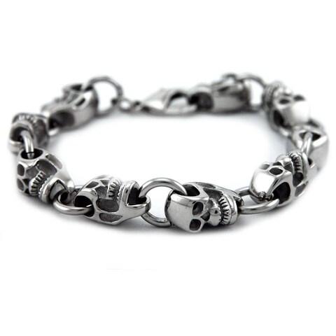 James Cavolini Stainless Steel Skull Head Chain Bracelet - White