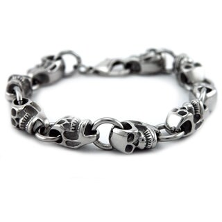 James Cavolini Stainless Steel Skull Head Chain Bracelet