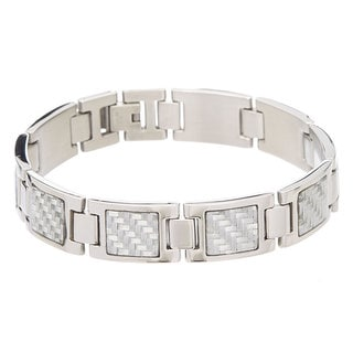 James Cavolini Stainless Steel Carbon Fiber Men's Bracelet