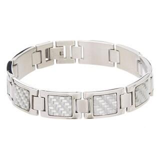 James Cavolini Stainless Steel Carbon Fiber Men's Bracelet