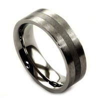 James Cavolini Stainless Steel Single Stripe Men's Wedding Band Ring - White