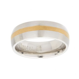 James Cavolini IP Gold Stainless Steel Two-Tone Stripe Band Ring