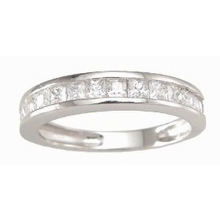 Plutus Sterling Silver Cubic Zirconia Wedding Band