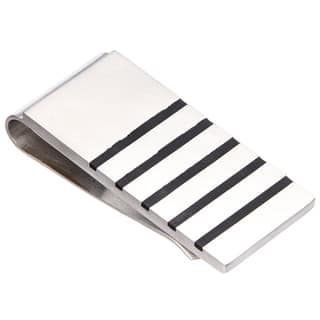 James Cavolini Black and Stainless Steel Stripe Money Clip|https://ak1.ostkcdn.com/images/products/10433626/P17531304.jpg?impolicy=medium