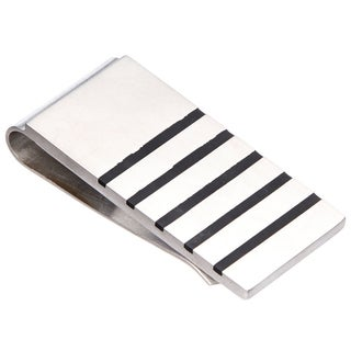 James Cavolini Black and Stainless Steel Stripe Money Clip