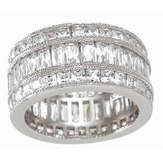 Sterling Silver Cubic Zirconia Triple Eternity Ring