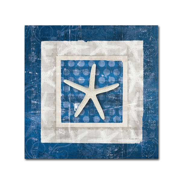 Belinda Aldrich 'Sea Shell IV on Blue' Canvas Art - Multi