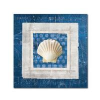 Belinda Aldrich 'Sea Shell III on Blue' Canvas Art - Multi