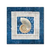 Belinda Aldrich 'Sea Shell II on Blue' Canvas Art - Multi