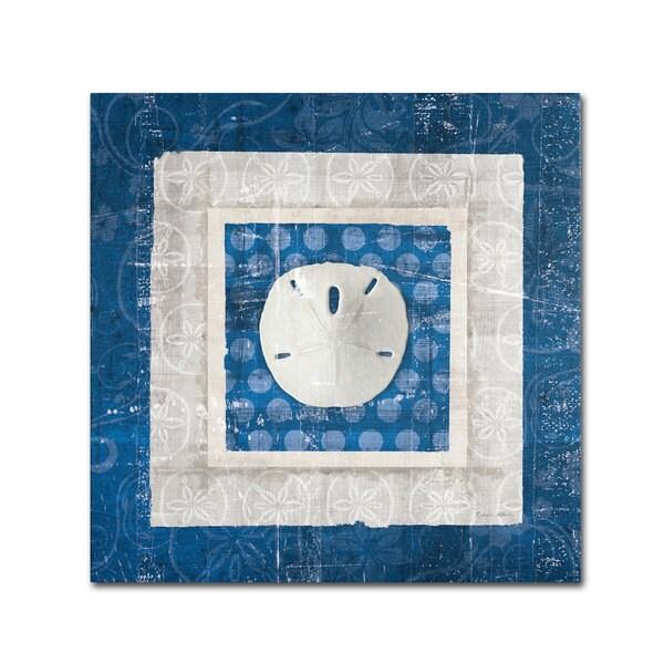 Belinda Aldrich 'Sea Shell I on Blue' Canvas Art - Multi