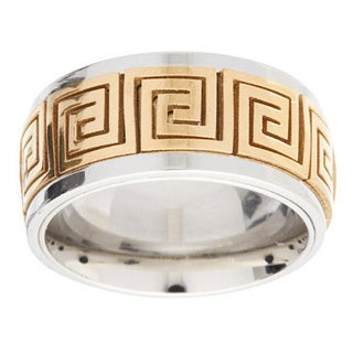 James Cavolini IP Gold Stainless Steel Two-Tone Greek Key Ring