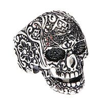 James Cavolini Stainless Steel Large Skull Intrisic Design Men's Ring - Black