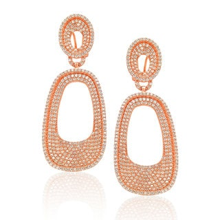 Suzy Levian Sterling Silver Cubic Zirconia Pave White / Golden / Rose Earrings