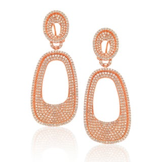 Suzy Levian Sterling Silver Cubic Zirconia Pave White / Golden / Rose Earrings (3 options available)