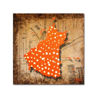Roderick Stevens 'White on Orange' Canvas Art