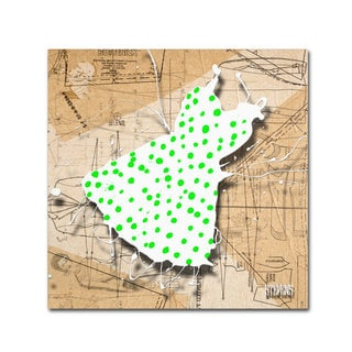 Roderick Stevens 'Green on White' Canvas Art