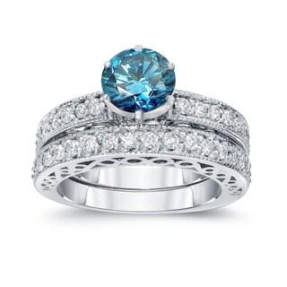 Auriya 14k White Gold 1 1/2ct TDW Round Blue Diamond Bridal Set (Blue, I1-I2)