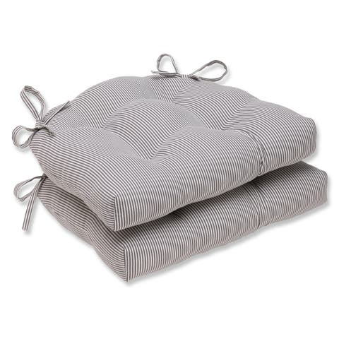 Pillow Perfect Oxford Charcoal Reversible Chair Pad (Set of 2)