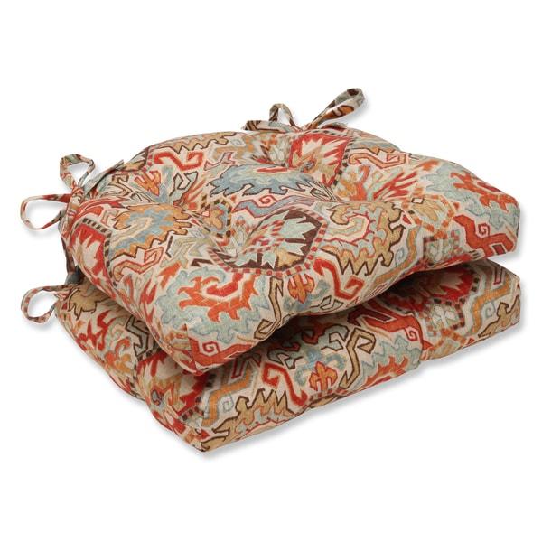 Pillow Perfect Madrid Persian Reversible Chair Pad (Set of 2)