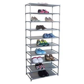 Home Basics Free Standing Non Woven 10 Tier Shoe Rack
