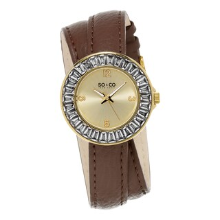 SO&CO New York Women's SoHo Quartz Brown Crystal Leather Strap Double Wrap Watch