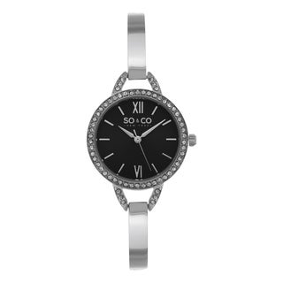 SO&CO New York Women's SoHo Quartz Stainless Steel Black Dial Mesh Strap Watch