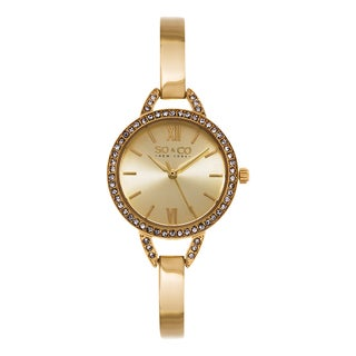 SO&CO New York Women's SoHo Quartz Crystal Gold Tone Stainless Steel Bangle Strap Watch