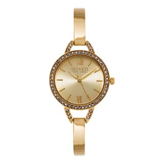 SO&CO New York Women's SoHo Quartz Crystal Gold Tone Stainless Steel Bangle Strap Watch|https://ak1.ostkcdn.com/images/products/10433810/P17531424.jpg?impolicy=medium