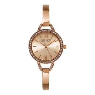 SO&CO New York Women's SoHo Quartz Rosetone Stainless Steel Crystal Bangle Watch|https://ak1.ostkcdn.com/images/products/10433811/P17531425.jpg?impolicy=medium