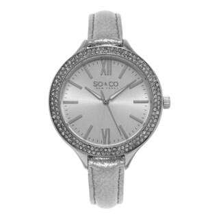 SO&CO New York Women's SoHo Quartz Silver Leather Strap Crystal Watch