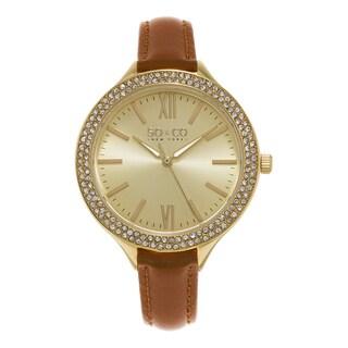 SO&CO New York Women's SoHo Quartz Brown Leather Strap Crystal Watch