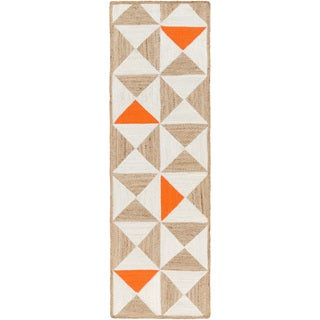 Hand-Woven St.Ives Geometric Reversible Jute Rug (2'6 x 8')