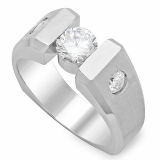 14k White Gold Men's 1 1/2ct TDW Diamond Ring (G, SI2)