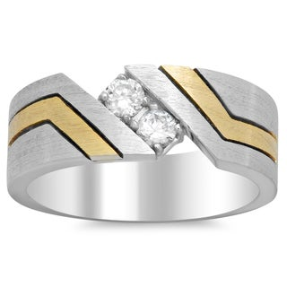 14k Two-tone Gold Men's 1/2ct TDW Diamond Ring (F, VS2)
