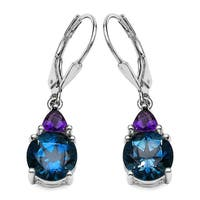 Olivia Leone 6.50 Carat Genuine Amethyst and Blue Topaz .925 Streling Silver Earring